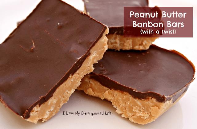 Peanut Butter Bonbon Bars {with a twist} I Love My Disorganized Life #peanutbutter #bonbons #bars
