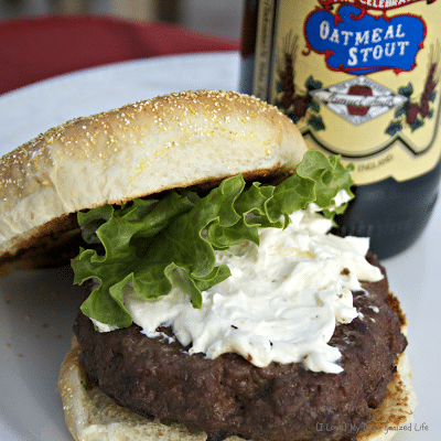 Bison Beer Burgers with Blue Cheese Garlic Spread