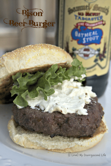 Bison Beer Burgers with Blue Cheese Garlic Spread/ {I Love} My Disorganized Life