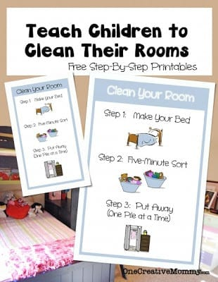 Teach Children to Clean Their Rooms Free Printable/ One Creative Mommy