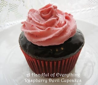 Raspberry Devil Cupcakes / A Handful of Everything