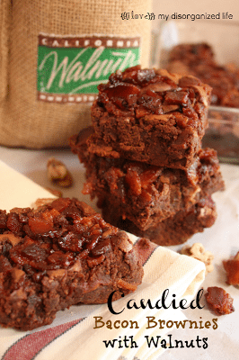 Candied Bacon Brownies/ {i love} my disorganized life #BrunchWeek #chocolate #walnuts #bacon