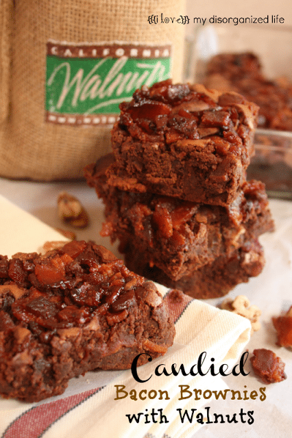 Candied Bacon Chocolate Walnut Brownies/ {i love} my disorganized life