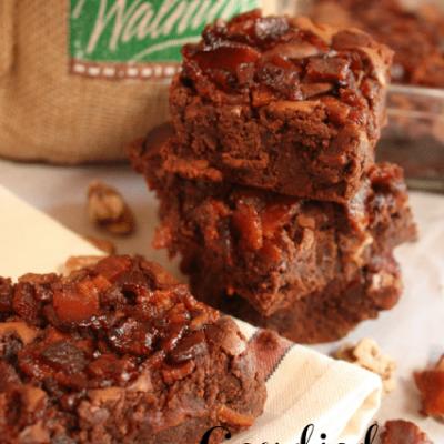 Candied Bacon Chocolate Walnut Brownies