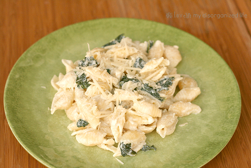 Goat Cheese and Kale Pasta from {i love} my disorganized life