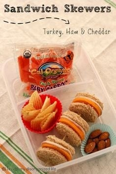 Turkey, Ham & Cheddar Sandwich Skewers