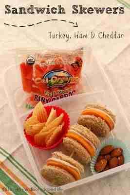 sandwich skewers - turkey, ham & cheddar