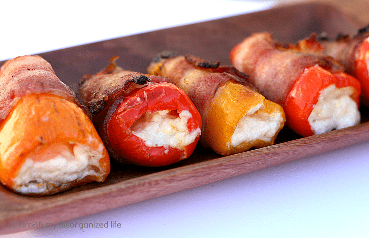 Blue Cheese Pepper Poppers on wooden tray