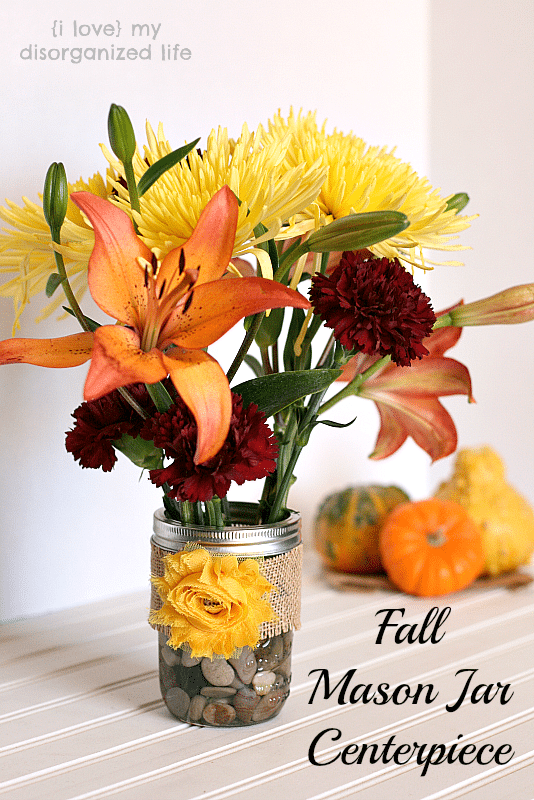 Make this Fall Mason Jar Centerpiece- perfect for any fall tablescape and can be re-used for spring and summer!