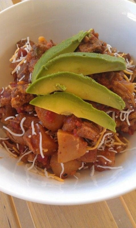 Pork Tinga with Potatoes, Avocado and Fresh Cheese