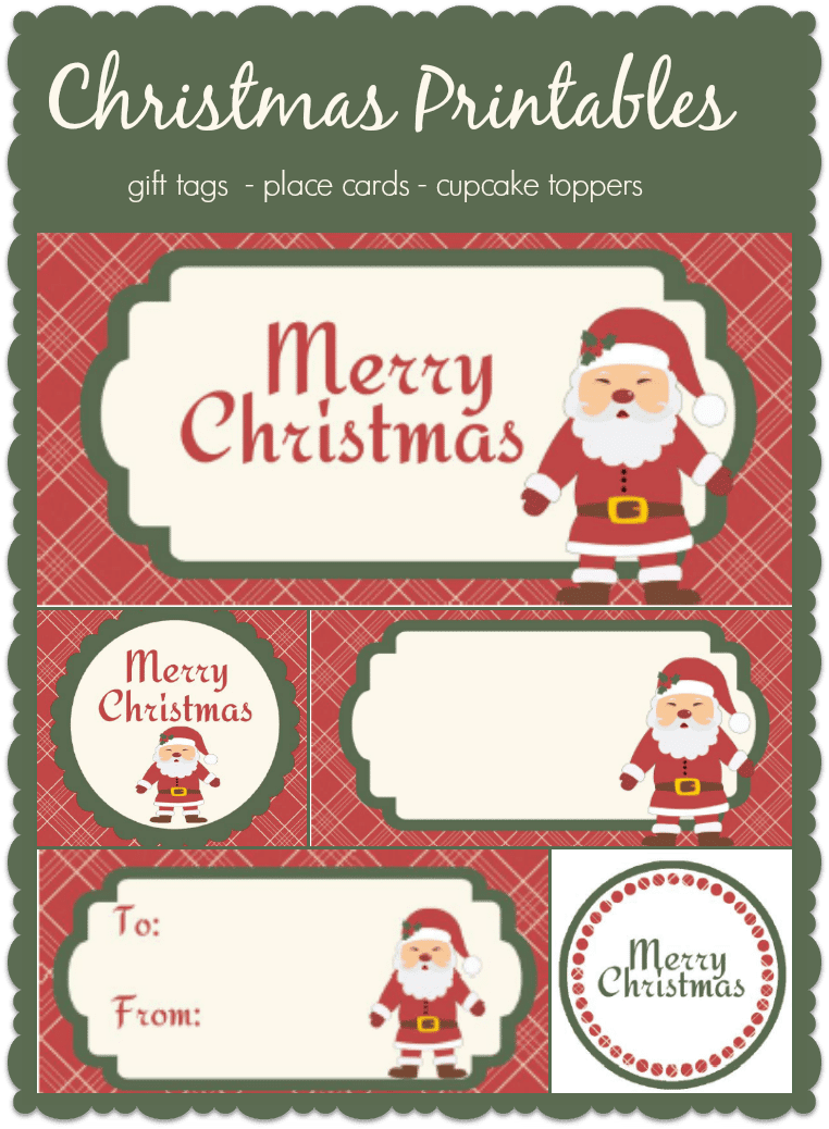 Fun Christmas printable tags, you can use them for gifts or as place cards or cupcake toppers