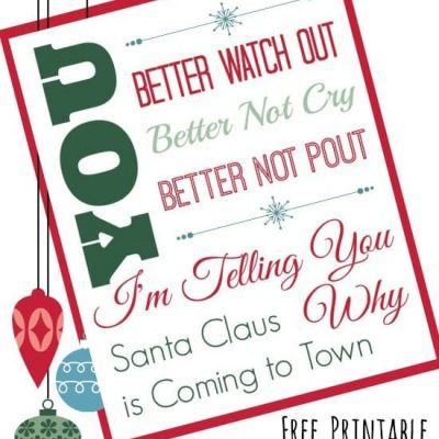 Printable – Santa Claus is Coming to Town