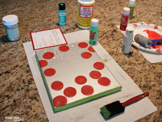 diy christmas card art paint sides