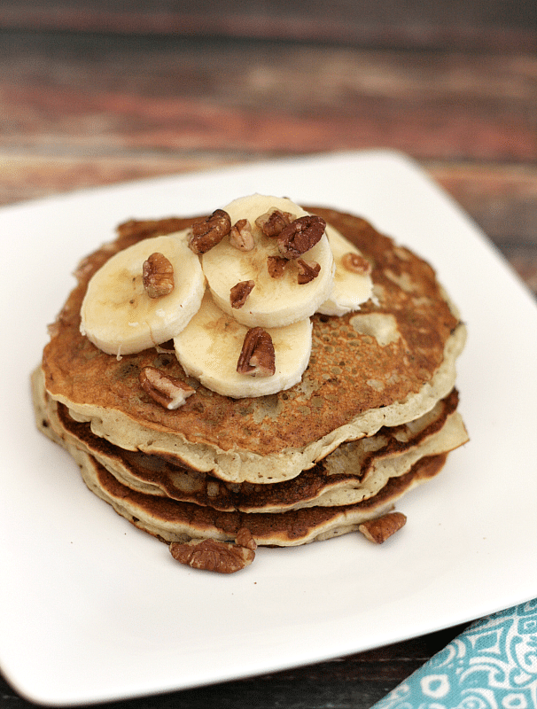 Banana Pancakes - These thin banana pancakes are sweet enough to forgo the syrup, just top with banana slices and chopped pecans and you're good to go! {i love} my disorganized life