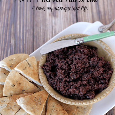 Easy Olive Tapenade with Herbed Pita Bread