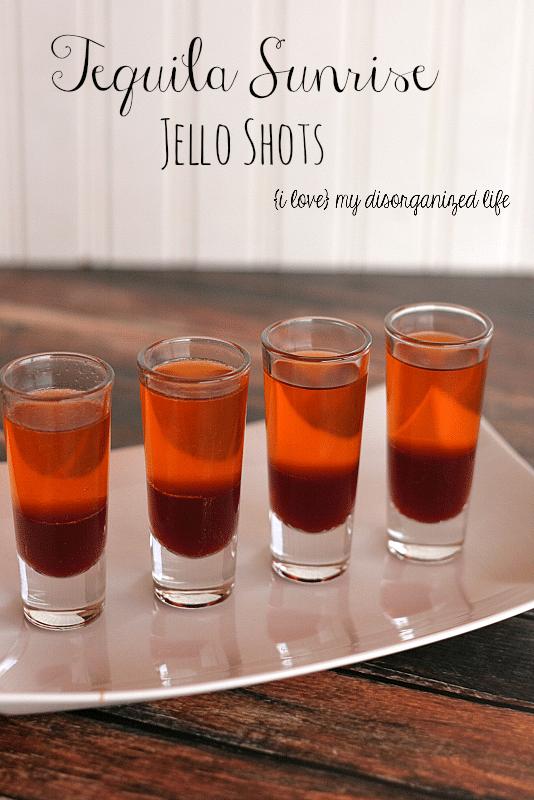 Tequila Sunrise Jello Shots for Cinco de Mayo #tequila #cincodemayo #jelloshots