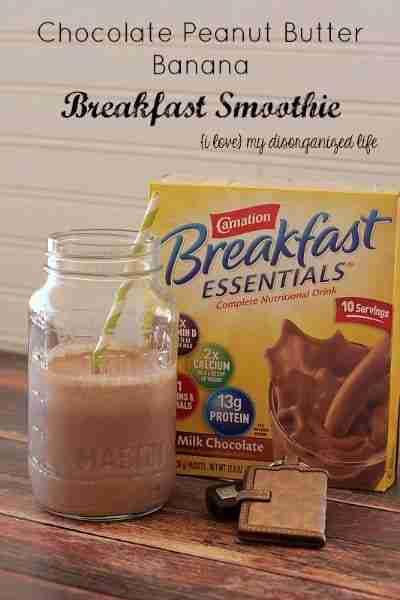 Chocolate Peanut Butter Banana Breakfast Smoothie #breakfast #smoothie #healthy
