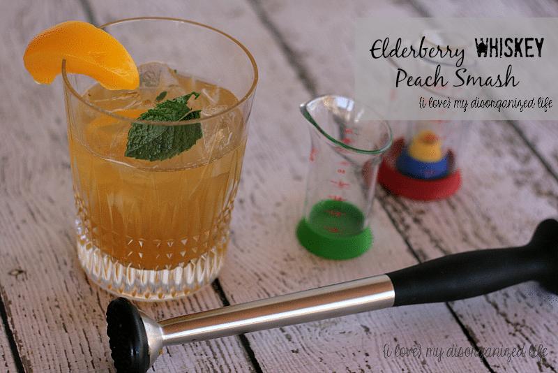 Elderberry Whiskey Peach Smash #BrunchWeek #cocktail #whiskey