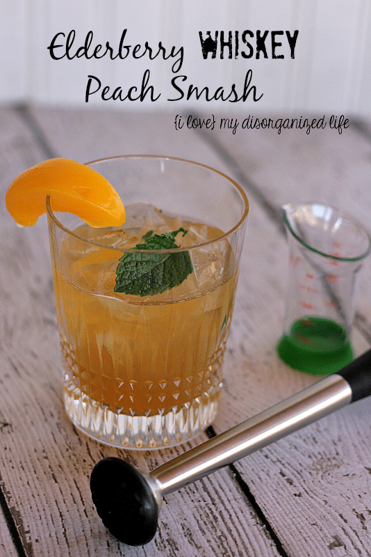 Elderberry Whiskey Peach Smash #BrunchWeek #whiskey #elderberry
