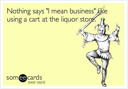 cart at liquor store