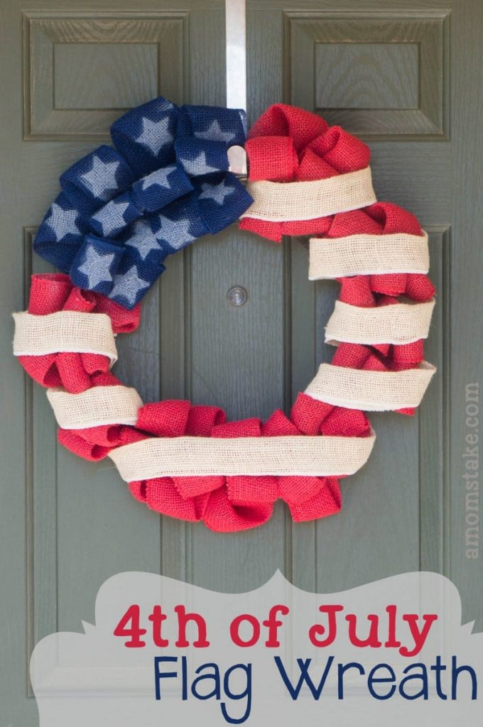 Burlap 4th-July-Flag-Wreath for red white and blue recipes crafts collection