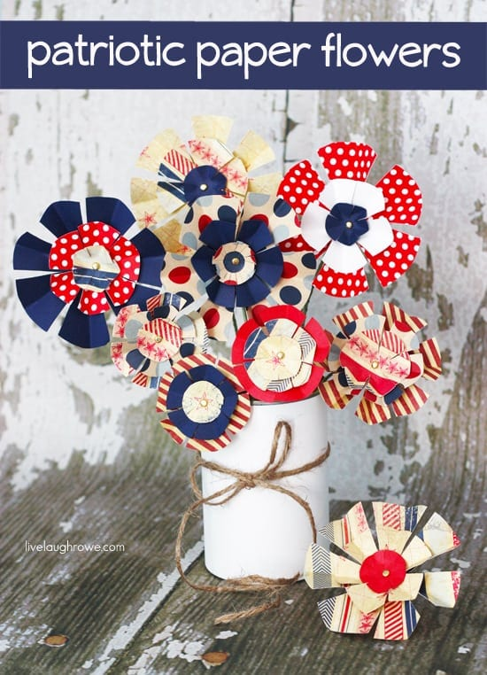 Red white and blue paper flowers for red white and blue recipes crafts collection