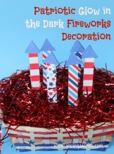 Patriotic-Glow-in-the-Dark-Fireworks-Decorations for red white and blue recipes crafts