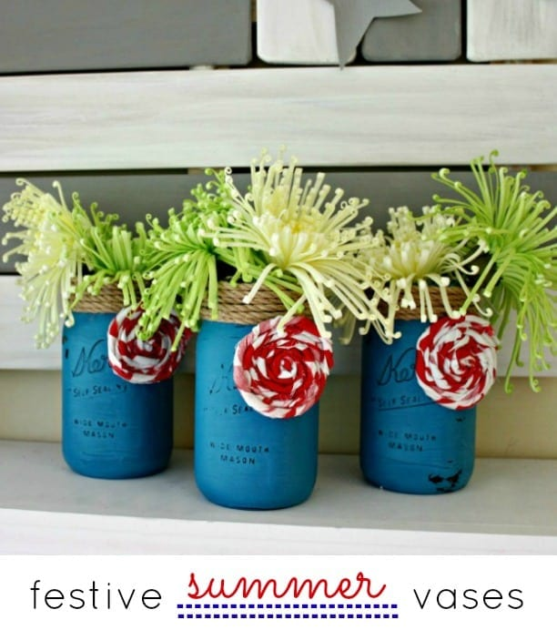 blue-mason-jar-vases for red white and blue recipes crafts