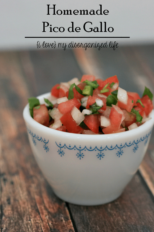 Homemade Pico de Gallo is full of spicy flavor and perfect for tacos or chips and salsa!