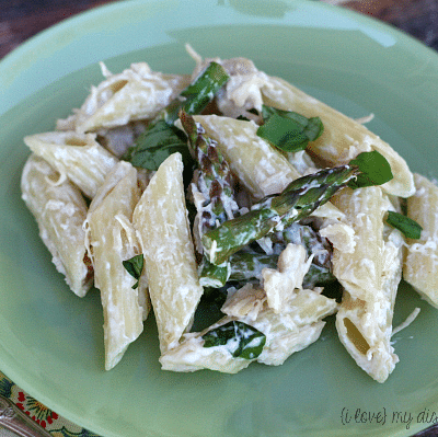Chicken Penne with Asparagus and Cream Sauce