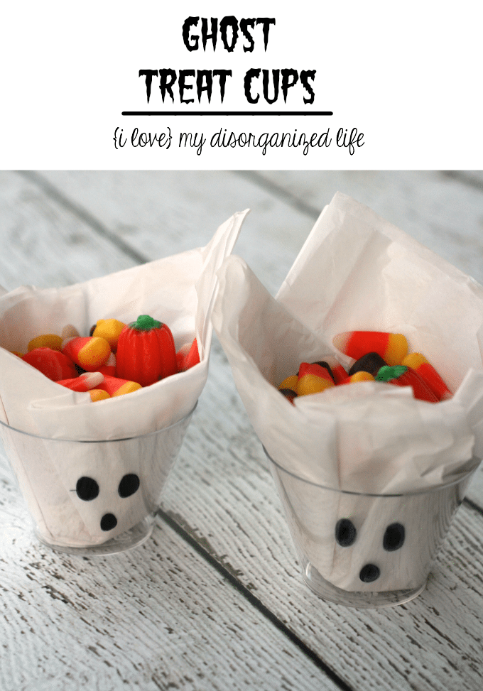 Ghost treat cups are a fun and simple way for kids to enjoy their treats without making a mess. Plus, they're the perfect party craft.