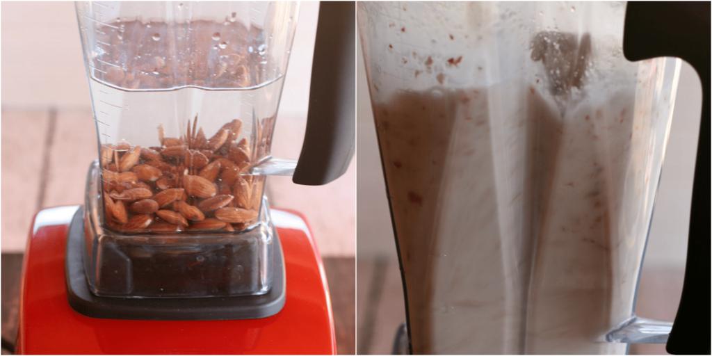 homemade almond milk blender collage