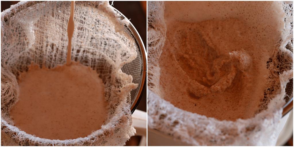 homemade almond milk strainer Collage