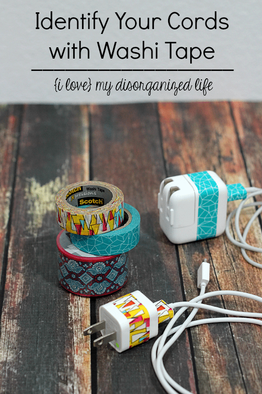 Do your cords get mixed up with everyone else's? Identify them easily by marking them with washi tape!