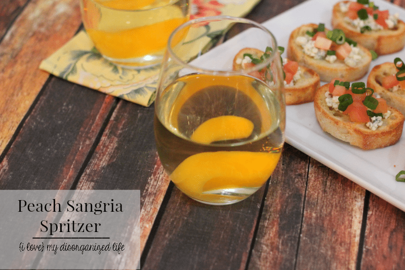 Sangria spritzer- a light, sparkling peach flavor, perfect for sharing with friends and paring with appetizers.