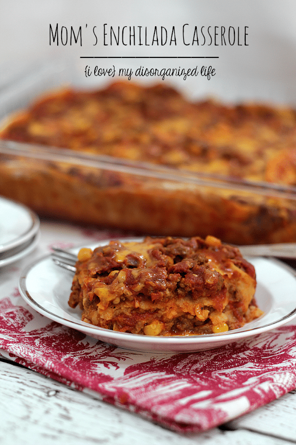 Slightly spicy and packed with beef and cheese, this easy enchilada casserole recipe makes a family meal everyone will enjoy!