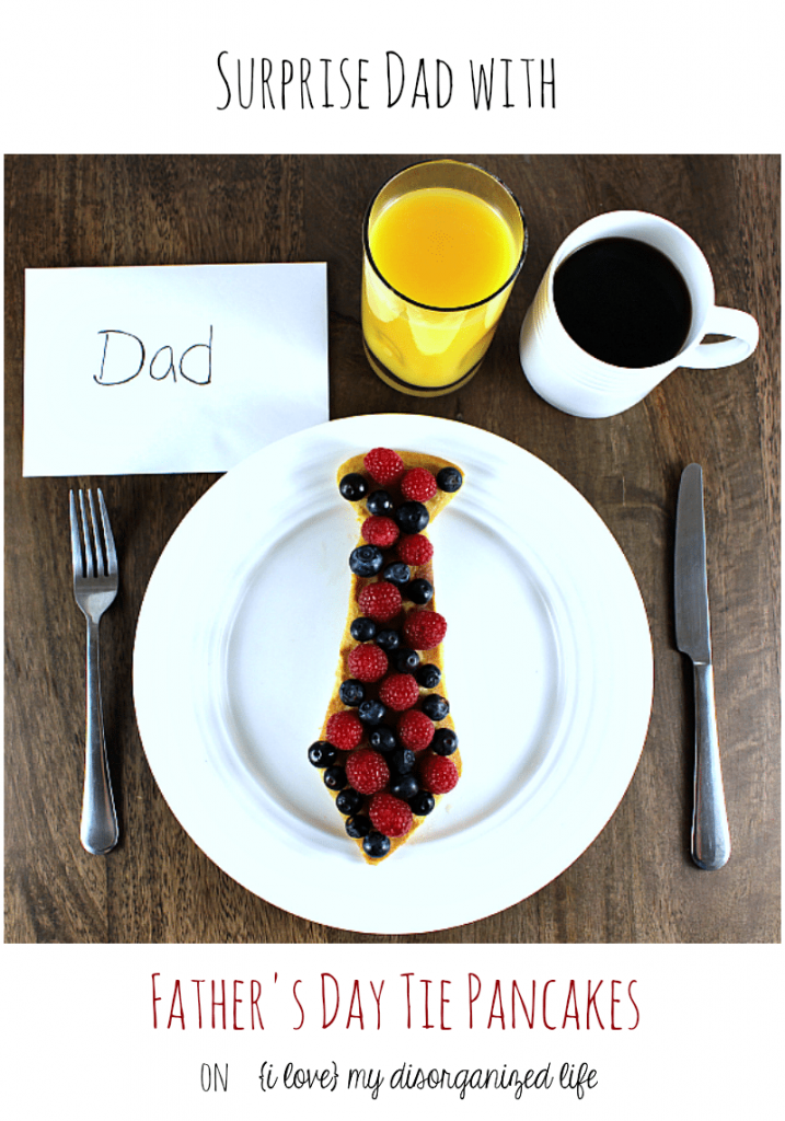 Surprise dad with a sweet Father's Day tie he'll really love! Super easy to make, these tie pancakes are a great way to surprise dad on his special day! Delicious protein pancake recipe included!