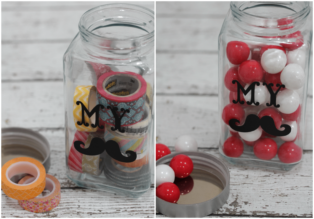 This fun and easy DIY stache jar is perfect for keeping treats, collections and vacation momentos!