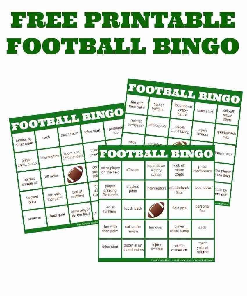 free printable Football bingo cards