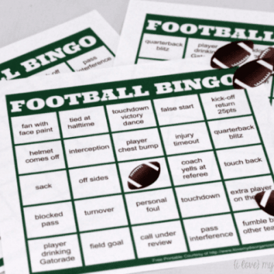 Football Bingo Cards {Easy Football Watching Game}