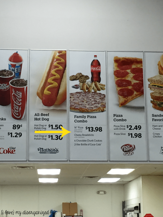 Family Pizza Combo sign at Sam's Club
