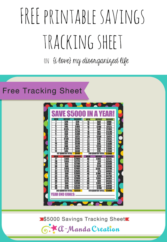 Ready to get your finances in shape? Not sure where to begin? Let this FREE printable savings tracking sheet be your guide! Easy to follow and it keeps you motivated by showing you a running total!