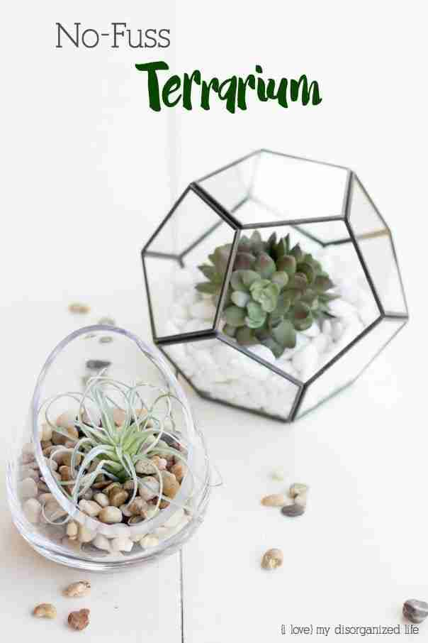 A no fuss terrarium is an easy DIY project, and the perfect gift for anyone with a 'black' thumb. With just a few materials and no watering required, this do it yourself terrarium is a no-fail.
