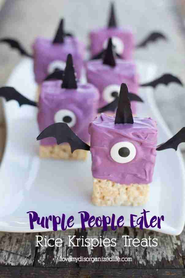 Purple People Eater Rice Krispies Treats are a quick and easy treat to make with the kids. Just a few simple ingredients/items is all you need!