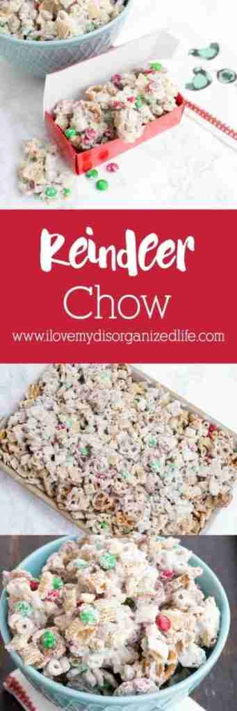 Reindeer chow is the perfect salty sweet treat. Loaded with nuts, crunchy cereal, pretzels and M & M's, they won't be able to resist, and neither will you.