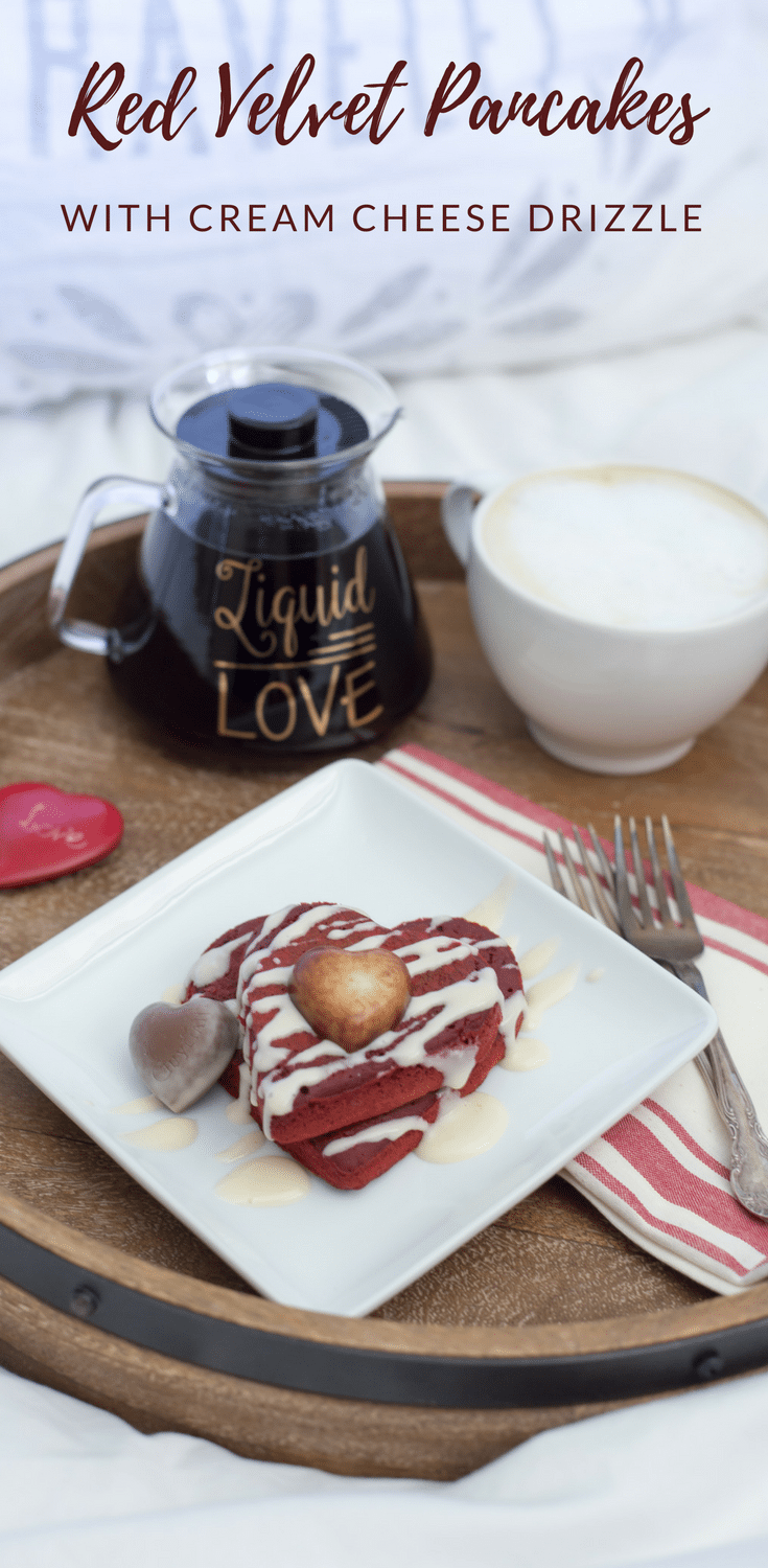 These red velvet pancakes with cream cheese drizzle are perfect for mornings when you want to get back to bed in a hurry.