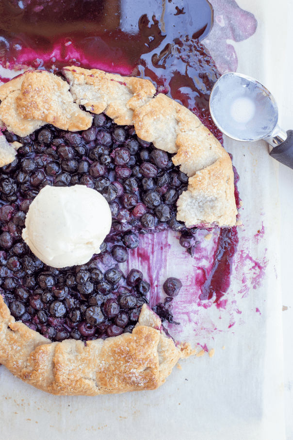 blueberry galette baked with ice cream on top