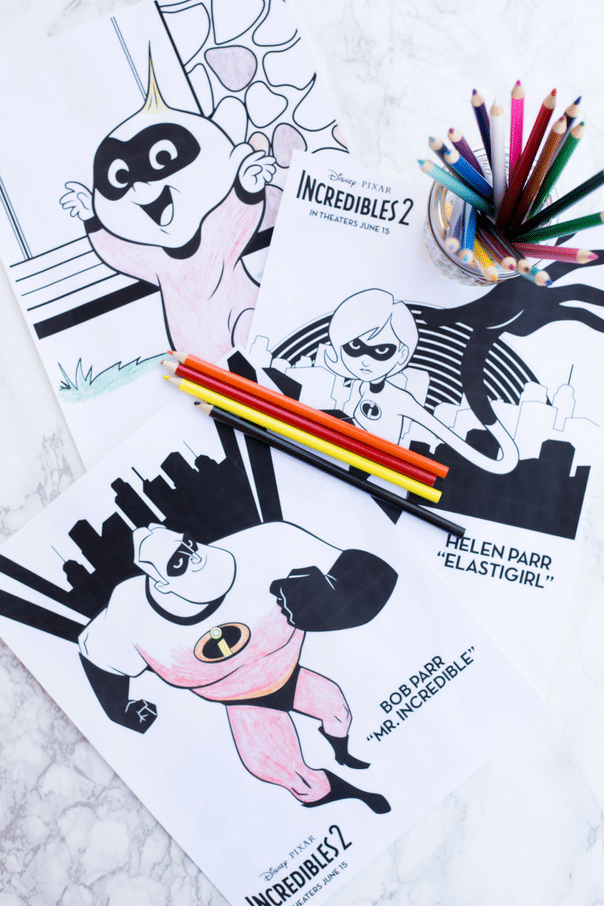 Incredibles 2 coloring pages are perfect for busting summertime boredom! Great for keeping kids busy onroad trips.Simply download and print as many as you want!