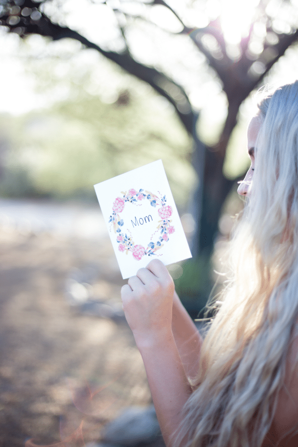 Printable Mother's Day cards read by woman