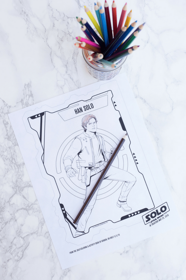 Han Solo coloring page on white marble counter